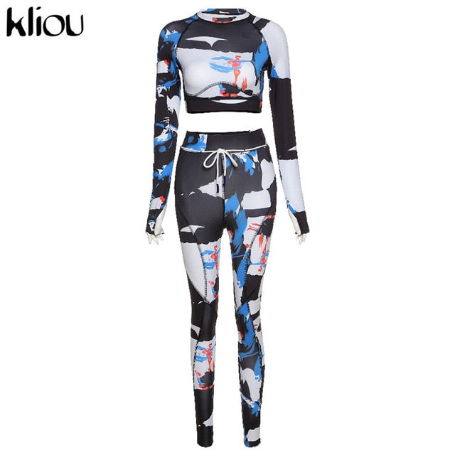 Kliou women skinny patchwork tracksuit 2 piece outfits long sleeve crop top sporty leggings matching set casual fitness clothes