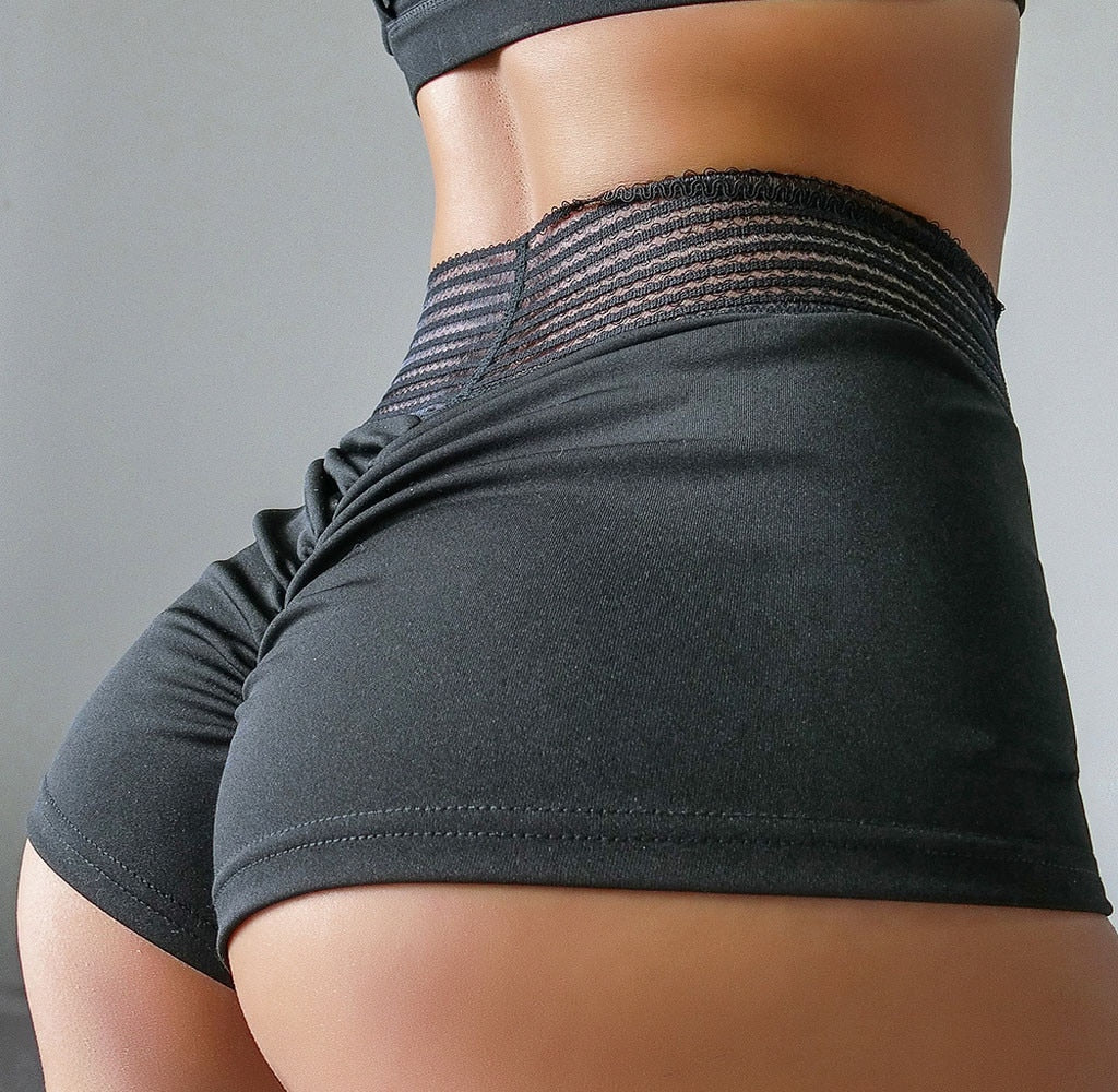 Fashion Women mini hot Shorts High Waist Ruched Lift Workout Solid Stretchy Hollow Soft Skinny Shorts Femme Sport 2020 New