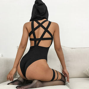 Sexy Backless Cross Belt Hooded Bodysuit Women Skinny Hollow Black Fitness One Piece Suit Casual Beachwear Club Gothic Rompers