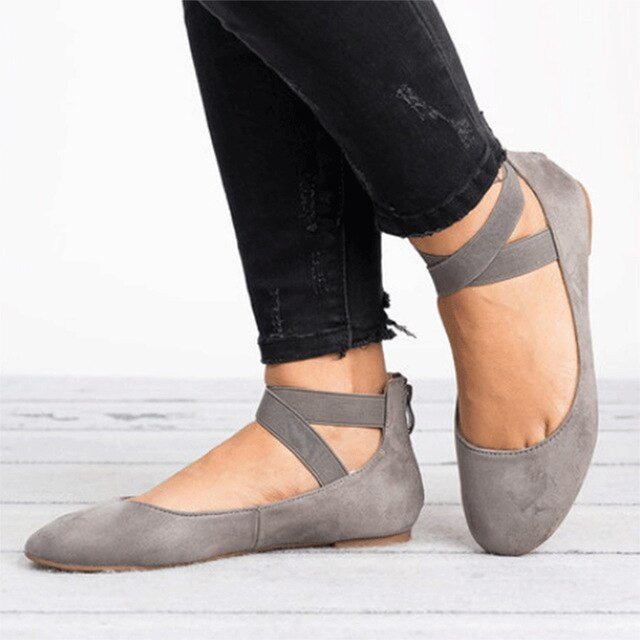 MCCKLE Women   Flat Shoes Fashion Gladiator Low Heel For Woman Elastic Band Shoe Rome Style Flats Casual Female Footwear