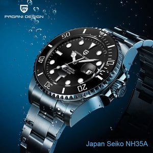 PAGANI DESIGN Japan NH35A Automatic Mens Watches Mechanical Stainless Steel Wristwatch Mens Waterproof Clock Male Sapphire Watch