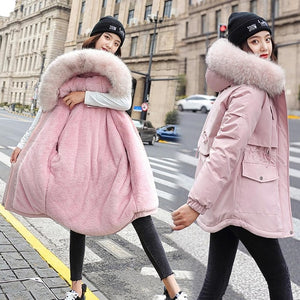 Vielleicht 2020 New Cotton Thicken Warm Winter Jacket Coat Women Casual Parka Winter Clothes Fur Lining Hooded Parka Mujer Coats