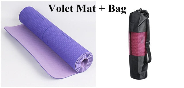 1830*610*6mm TPE Yoga Mat With Position Line Sport Carpet Mat For Beginner Environmental Fitness Gymnastics Antiskid Mat Bag Set