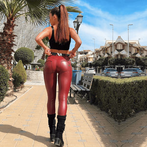 Melody Burgundy Skinny Leather Pants Pu Faux Leather Trousers Womens Dark Red Leather Pants Womens Butt Lift Vintage Clothes