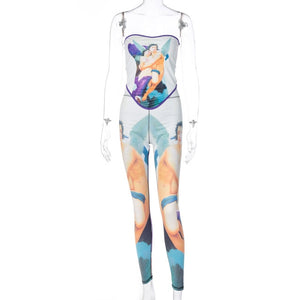 Hugcitar 2020 print tube crop top leggings 2 piece set autumn winter women fashion streetwear outfits bodycon tracksuit
