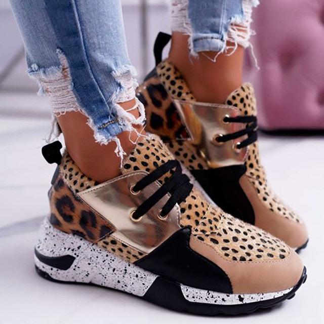2020 Summer Hot Lady Shoes Women Sneakers Leopard Mesh Breath Women Running Female Shoes Outdoor Flat Platform Zapatos Mujer