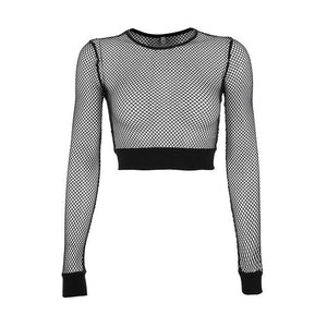 Long Sleeve Tees Women Casual Gothic Punk Mesh Tops Black T-Shirt Summer 2020 Streetwear Japan Goth Fashion Lady Hight Street