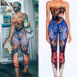 Kliou women skinny sleeveless strapless jumpsuits stretchy activewear sporty pattern print overalls workout casual streetwear