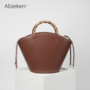Bamboo Handle Cowhide Leather Bucket Handbag Women 2020 Autumn Designer Retro Genuine Leather Tote Bag Large Capacity Fashion
