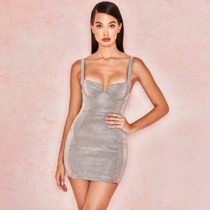 Silver Shinny Bustier Mini Dress Elastic Sexy Party Night Club Bodycon Bandage Dress