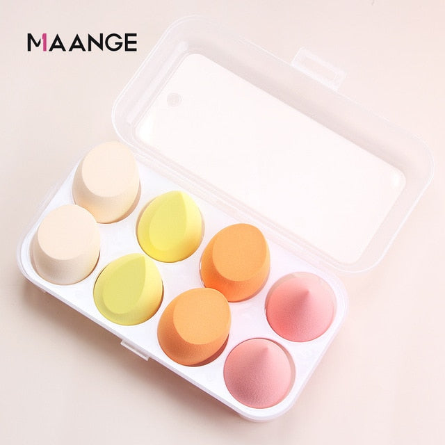 8Pcs Cosmetic Puff Powder Puff With Box Women's Makeup Foundation Sponge Beauty To Make Up Tools & Accessories Water-drop Shape