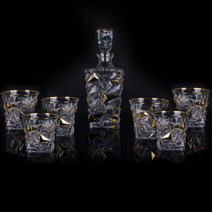 High quality 7pcs/set wine glass bottle luxury gold rim drink glass Party Brandy Snifters Beer Steins drinking Cocktail Glasses