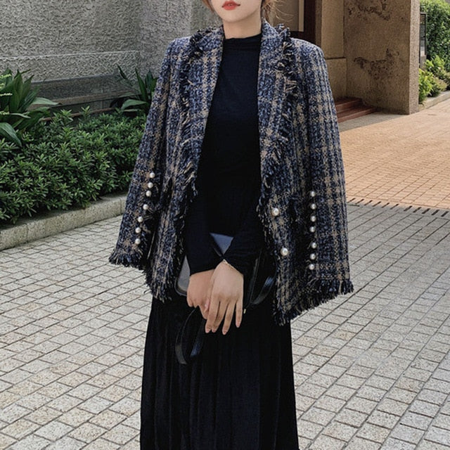 Women Overcoat Beaded Geometric 2020 Autumn Winter Long Sleeves V-Neck Vintage Ladies Outwear Overcoats  Retro Chic Female Coats