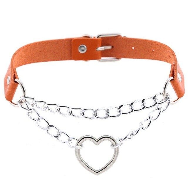 Cute heart choker goth chain collar punk choker women girl black leather buckle chocker emo kawaii jewelry Harajuku accessories