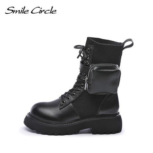 Smile Circle Genuine Leather Boots women Fashion chunky High heels Ladies Short Boots shoes autumn winter boots