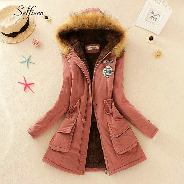 Fashion Winter Jacket Women Full Sleeve Hooded Pocket Thick Warm Fur Parka Donna Casual Long Coats Female Manteau Femme 2020