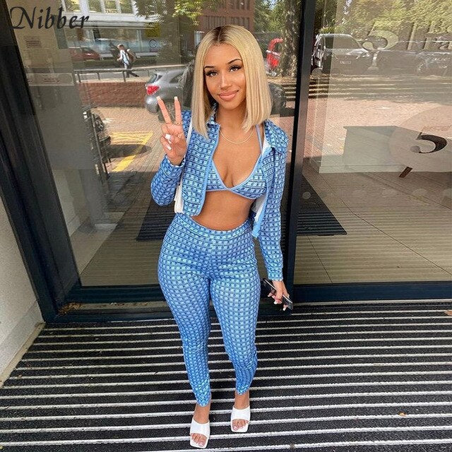 Nibber Vintage Plaid 3 Pieces Woman Fall Bra Zip Up Cardigan Coat Crop Top Women Pants Matching Set 2020 chic activity Tracksuit