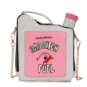 Fashion Fun Embroidery Letters Gasoline Bottle Crossbody Bag for Women Purses and Handbags Shoulder Chain Bag Girl's Purses