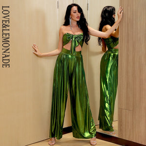 LOVE&LEMONADE Sexy Tube Top Changeable Lace High Waist Green Reflective Knit Two-Pieces Set LM6473A