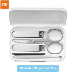 5pcs Xiaomi Mijia Nail Clipper Stainless Steel Set Trimmer Pedicure Care Clippers Earpick Nail File Professional Beauty Tools