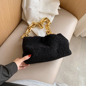 Elegant Female Thick Chain Tote Armpit bag 2020 Fashion New Quality Soft Plush Women's Designer Handbag Travel Shoulder Bags
