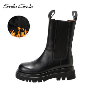 Smile Circle Autumn Slip-on Chelsea Boots Women Genuine Cow Leather fashion Round-toe Flat Platform Boots Lady shoes
