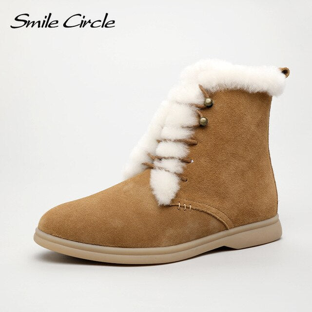 Smile Circle winter Ankle boots cow-suede-leather boots fashion natural-fur Warm boots Lace-up Comfortable snow boots women