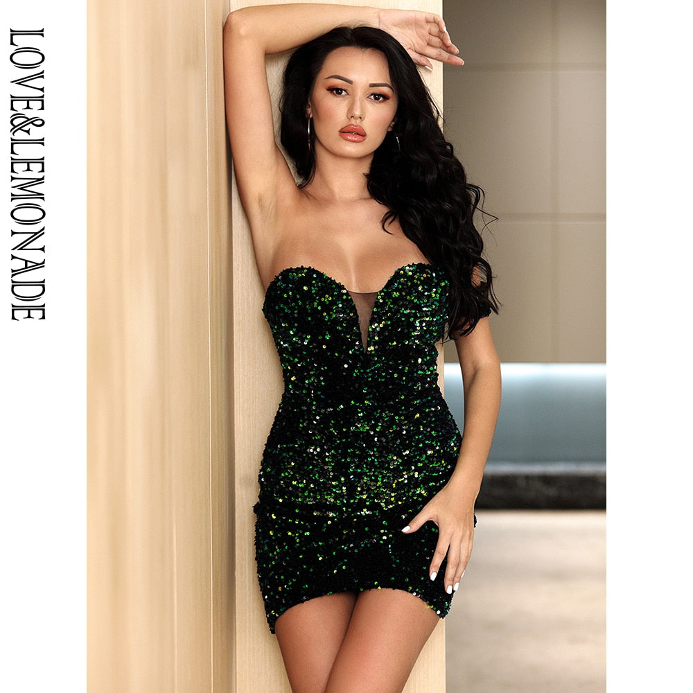 LOVE&LEMONADE Sexy Tube Top Elastic Green Velvet Sequins Bodycon V-Neck Party Mini Dress LM82728