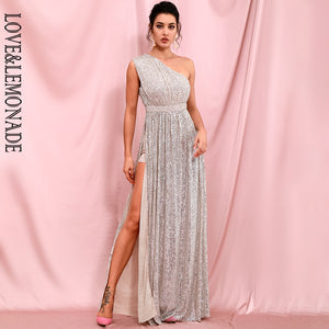 LOVE&LEMONADE Sexy Silver Strapless A-Line Elastic Sequins Whit Split Maxi Dress Long Dress LM82406