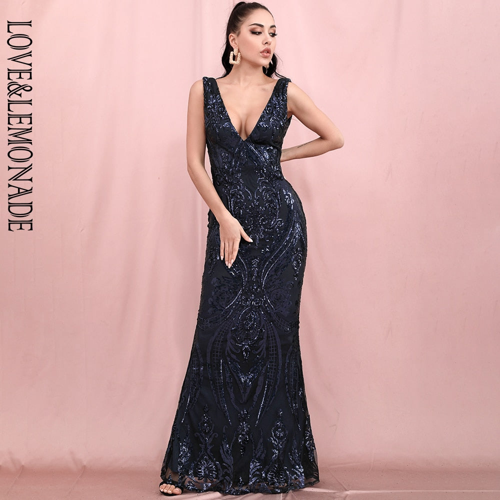 LOVE&LEMONADE Sexy Deep V-Neck Open Back Navy Geometric Sequin Bodycon Fishtail Maxi Dress LM82483