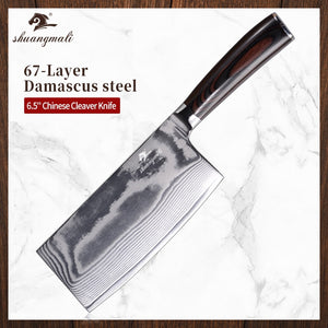 Utility Chinese Cleaver Knife 67 Layer Damascus Steel Kitchen Chef Knives Home Cooking Chef Slicing Cleaver Vegetable Knife
