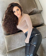 Melody Warm Biker Faux Leather Shapewear Compression Sexy Women Leggings Middle Rise Pants Skinny Outfits Stretch Trousers