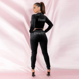 JillPeri Winter Velvet Crop Jacket and Tracksuit Joggers Two Piece Set with Diamante Rhinestones Jogging Suits for Women