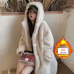 Faux Fur Coat Women 2020 Casual Korean Hoodies Furry Thick Bat Sleeved Warm Long Faux Rabbit Fur Jacket Loose Winter Coat Women