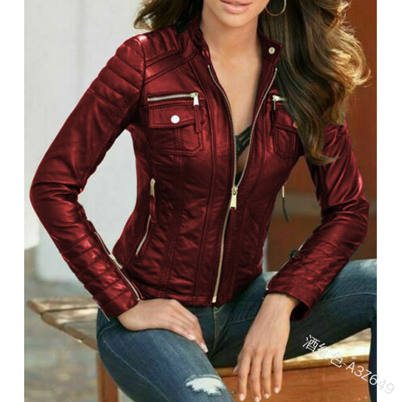 WEPBEL Short Style Slim-Fit Pu Coats Jacket Women's Leather Jacket Long Sleeve Plus Size Motorcycle Leather Jackets