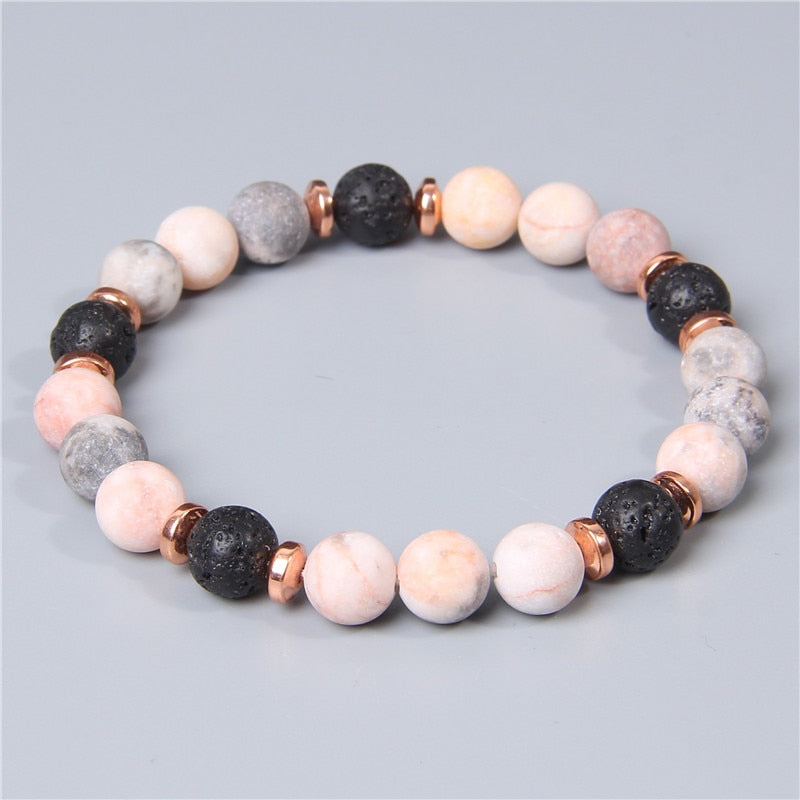Female Rose Gold Metal Spacer Charm Natural Matte pink Zebra gem Stone beads beaded bracelet for women friend jewelry wholesale