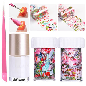 Leaf Flower Nail Foils Set 4*100cm Colorful Nail Art Decals Transfer Stickers for Nails Decoration Wraps Slider Accessory