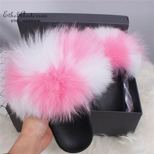 Real Fox Fur Slides For Women Furry Plush Slippers With Raccoon Fur Female Cute Fluffy Designer Wholesale Flip Flops Shoes