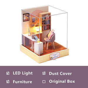 Mini Doll House Casa Free Dust Cover Diy Wooden Doll House Miniatures Kit Dollhouse Furniture Accessories Toys for Children Gift