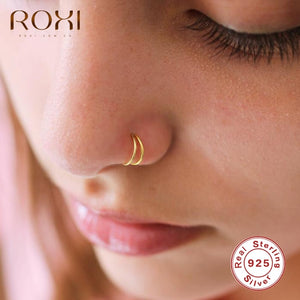 ROXI Fashion Glossy Double Round Nose Rings for Women Men Body Nose Piercing Cartilage Jewelry 925 Sterling Silver Piercing Nez