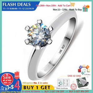 YANHUI With Certificate 925 Silver Ring Solitaire 1 Carat Zirconia Diamond Rings Pure 18K Gold Pt Wedding Band Women Gift R018