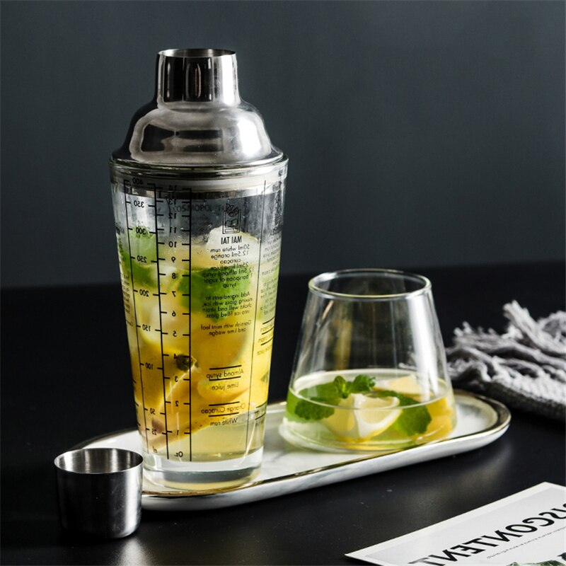 Glass Cocktail Shaker with Ounces Double Scales Bartender Cocktail Mixer Hand Shaker Juice Shaker Bottle 400ml Bar Accessories