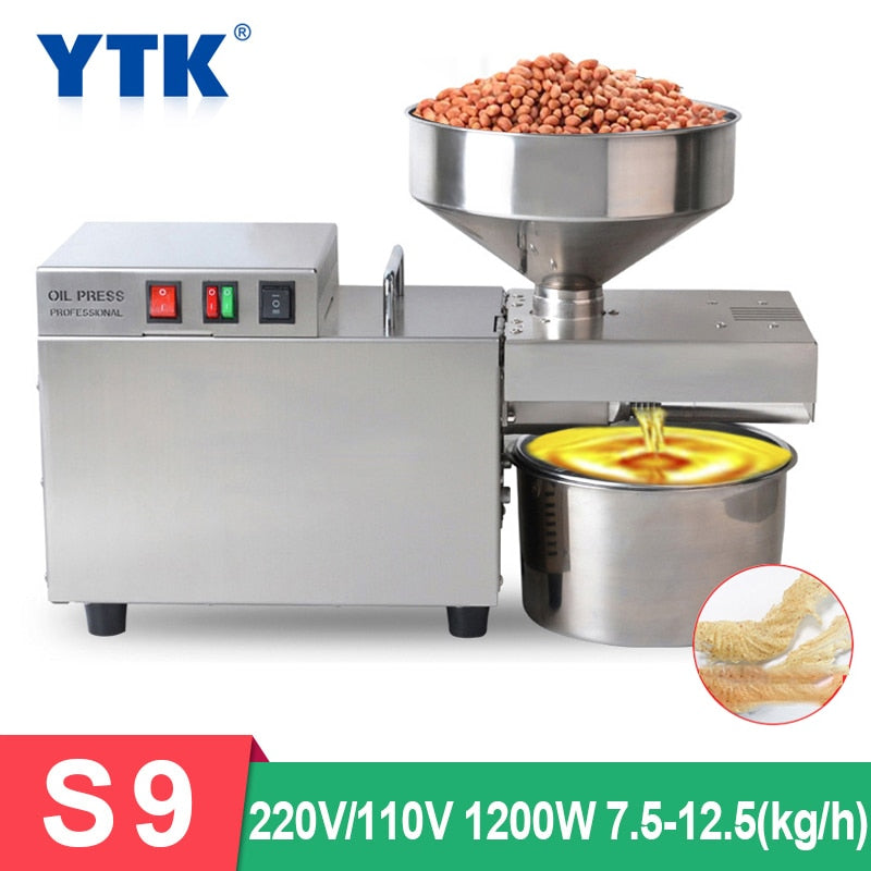 S9  Automatic Oil Press Machine Heavy Intelligent Commercial Oil Presser Sunflower Seeds Peanut Oil Extractor 1500W (max)
