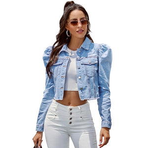 Benuynffy Vintage Puff Long Sleeve Crop Jean Jacket Women Spring Autumn Single Breasted Coat Female Outwear Casual Denim Jackets