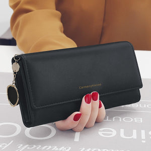 New Fashion Women Wallets Brand Letter Long Tri-fold Wallet Purse Fresh Leather Female Clutch Card Holder Cartera Mujer
