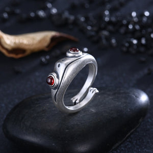 Bohemian Vintage Frog Ring for Women Artistic Design Retro Opening Resizable Unisex Female Statement Rings Silver Color Gift