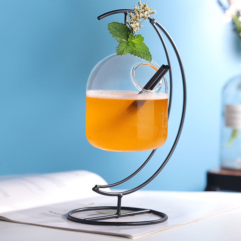 Bar New Ideas Hanging Basket Cocktail Glass Heart Moon Iron Frame Suspension Bottle Juice Beverage Molecular Special Drinks Cup