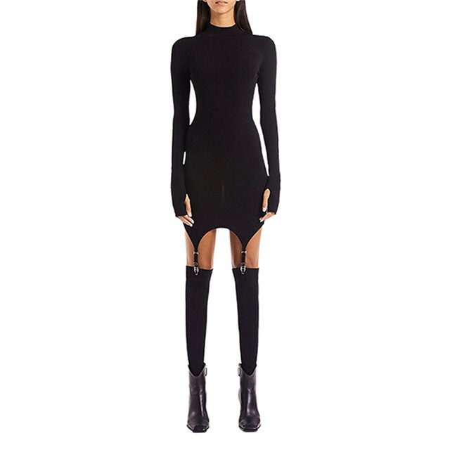 Long-sleeved Dresses High-neck Slim-fit Hip Sexy Dress With Hook Socks Tight-Fitting Stockings Women's Party Club Mini Vestidos