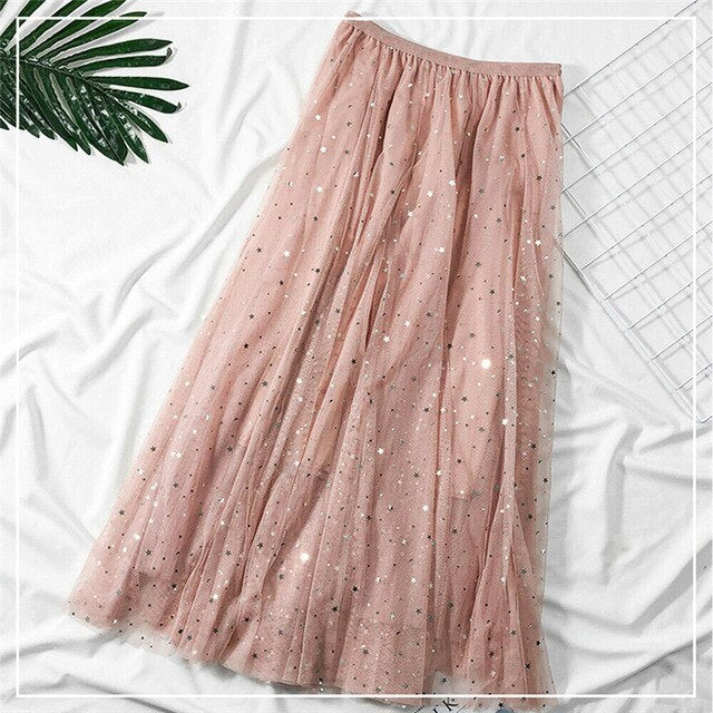 2020 Sweet Ladies Casual Skirt Autumn Womens High Waist Solid Color Pleated Mesh Bling Skirt Long Maxi Style Long  Latest Skirts