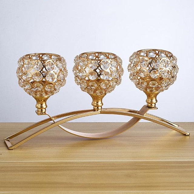 3 Arms Candelabras Crystal Candle Holders Candlesticks Ornament Table Centerpieces for Wedding Dinning Room for Home Decoration
